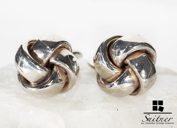 Art Deco Manschettenknöpfe aus 835 Silber im Knoten Design Seefahrt 2
