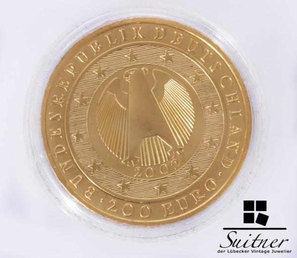200 Euro BRD 2002 D Gold PP 1 Unze Feingold Währungsunion selten