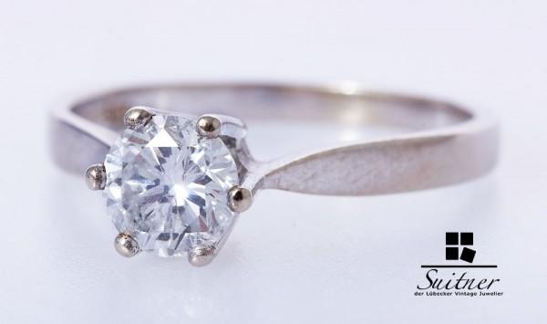 klassischer Verlobungsring 0,85ct Brillant Ring 585 Weißgold Gr. 55,5 F Farbe