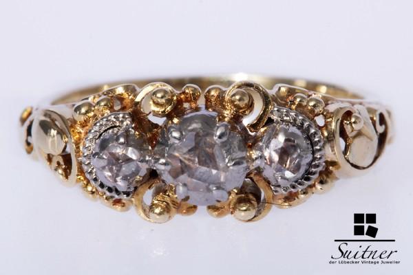antiker Jugendstil Ring mit 3 Diamant Rosen 585 Gold Gr. 53