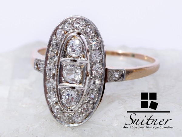 wunderschöner Art Deco Ring mit Diamanten 585 Gold Gr. 58 Oval Design