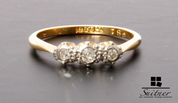 antiker Diamant Ring 750 Gold und Platin, wohl Frankreich um 1900 Gr. 52