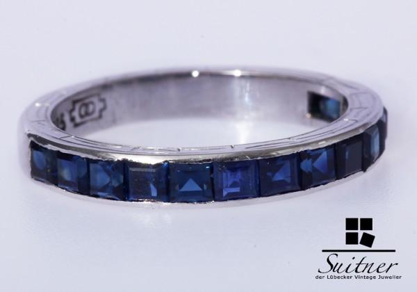 Saphir Ring 585 Weißgold Gr. 53