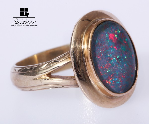 Ring mit Opal- Triplette 333 Gold Gr.59 60