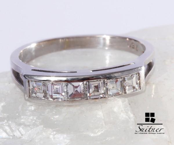 wertvoller Diamant Ring 750 Weißgold Carrée Cut ca. 0,90ct Verlobung Gr 57