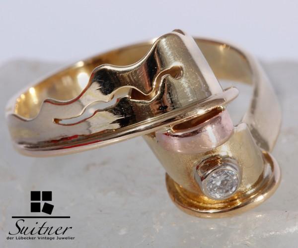 moderner Design Brillant Ring 585 Gold Gr. 55 Rotgold Welle