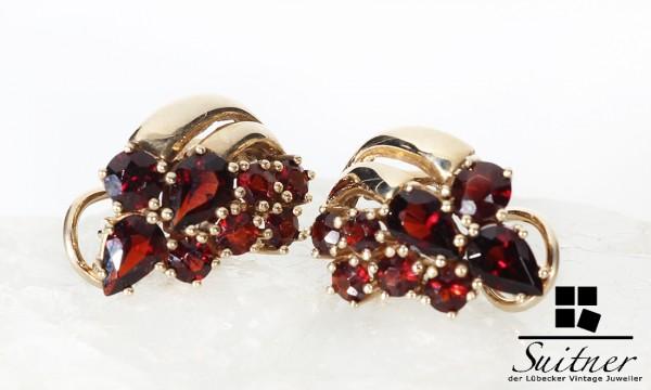 Ohrstecker / Clip mit Granat aus Gold Böhmen Bohemia Rubin Rot