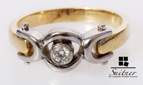 Design Brillant Solitär Ring aus 585 Weißgold und Gold Gr. 53 BiColor
