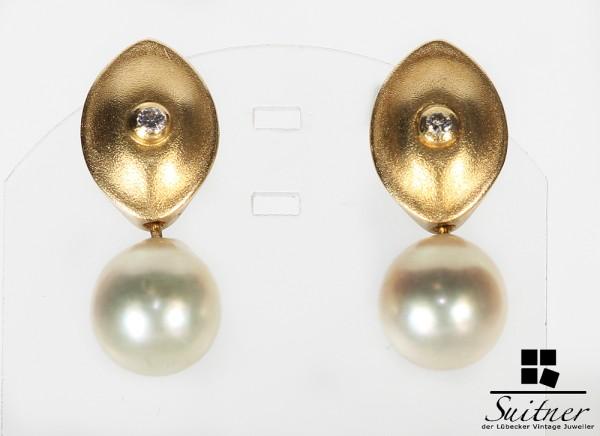 Handarbeit Ohrstecker Gold 750 mit Brillant und Perle Design Goldschmied Luxus