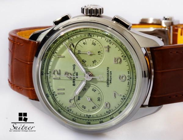 Breitling Premier B09 Chronograph 40 in Pistazien Grün - Fullset ungetragen NEU