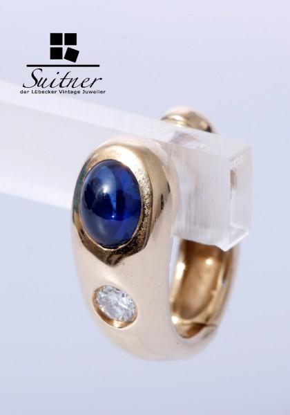 klassische Saphir Brillant Creolen aus 585 Gold tolles Design Ohrringe