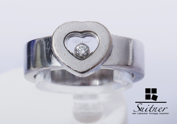 Chopard Ring Happy Diamonds 750 Weißgold Gr. 52 mit Box Papieren