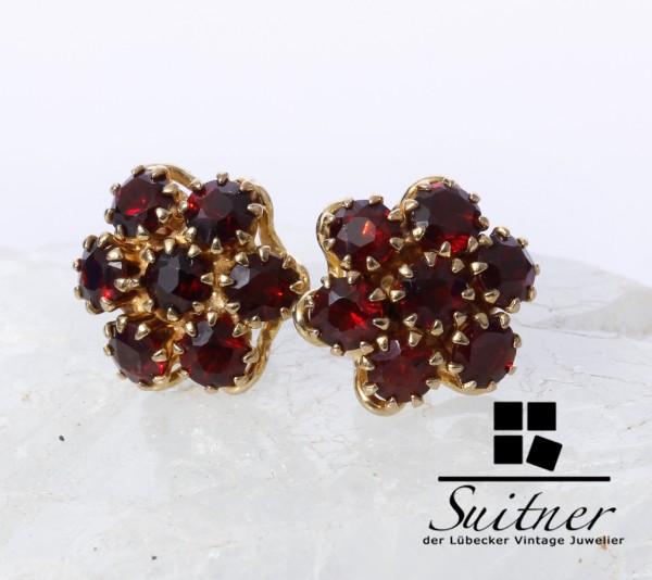 prächtige Granat Ohrstecker Ohrring aus Gold in Blütenform Rot Böhmen