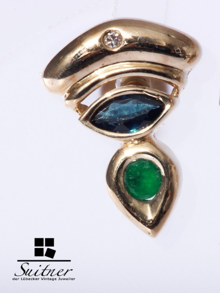 Ohrstecker Saphir/Smaragd Diamant 585 Gold
