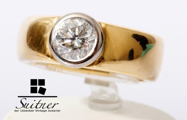 wertvoller 1,00ct Altschliff Diamant Ring massiv 585 Gold Gr. 53 23,6gr.
