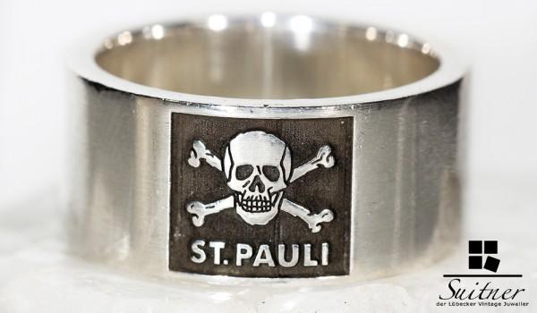 großer Fan Bandring von St. Pauli Fußball 925 Silber - mit Totenkopf