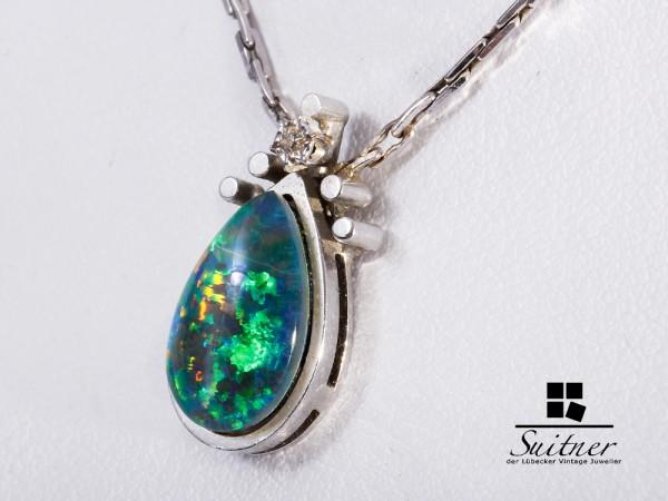Collier Weißgold 585 Opal Diamant