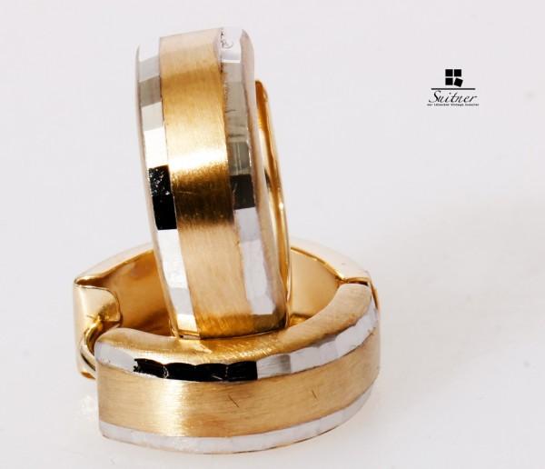 moderne Amor Creolen 375 Gold Clipcreolen Ohrringe poliert mattiert