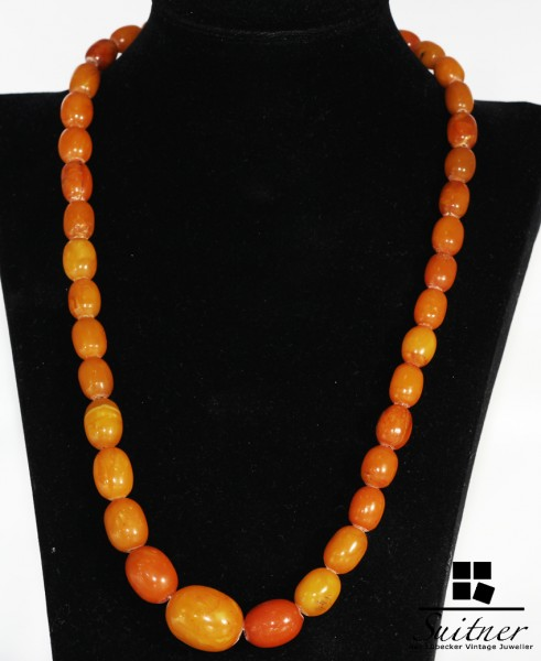 XL Bernstein Butterscotch Kette real Amber - tolle Farbe - Art Deco Prayer