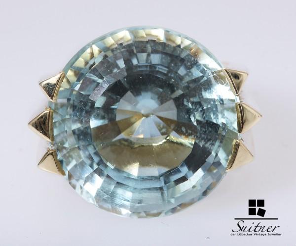 Aquamarin Ring ca. 26 ct. augenrein 585 Gold Gr. 50