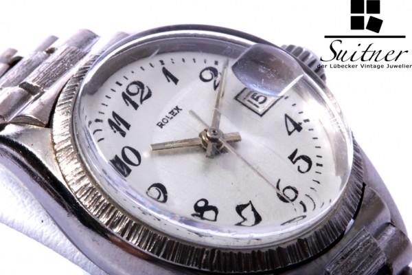 seltene Rolex Lady Date 750 Weißgold Ref. 6527 Präsident Borke RAR
