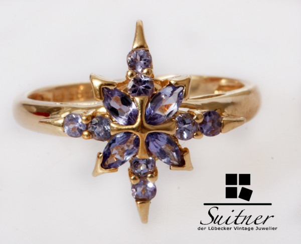 toller Ring in Stern Optik 585 Gold Gr. 53 Lila Blau Steinbesatz