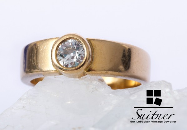 wertvoller massiver 0,45ct Diamant Ring 750 Gold Gr. 54 Unikat Brillant