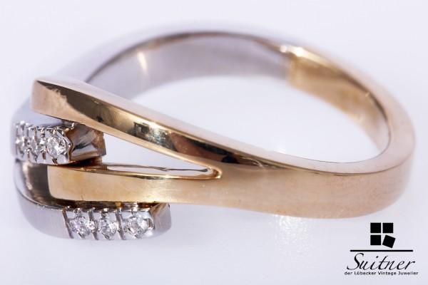 moderner Ring Weißgold Gelbgold 6 Brillanten aus 585 Gold Gr. 56