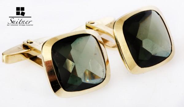 Unikat Manschettenknöpfe 585 Gold mit grünen Turmalin 1970er Jahre Vintage Manschetten