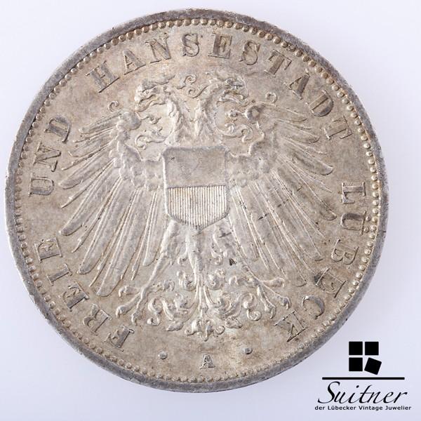 3 Mark Lübeck 1913 Prägestätte A sehr schön SS seltener Jahrgang