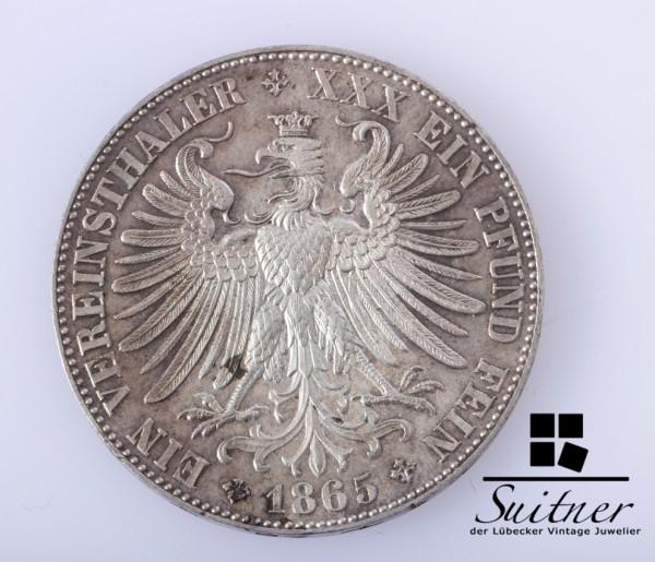 selten Frankfurt 1865 Vereinsthaler ein Pfund Fein SS / SZ Thaler