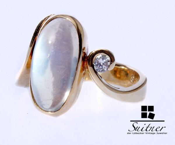 Mondstein Brillant Ring 585 Gelbgold Gr. 52