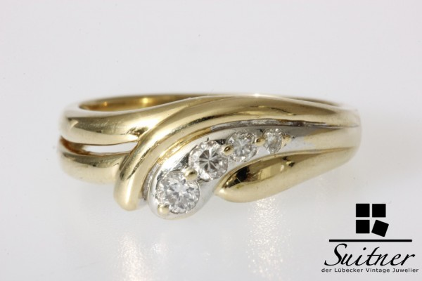 moderner Brillant Designer Ring aus 585 Gold Gr. 59