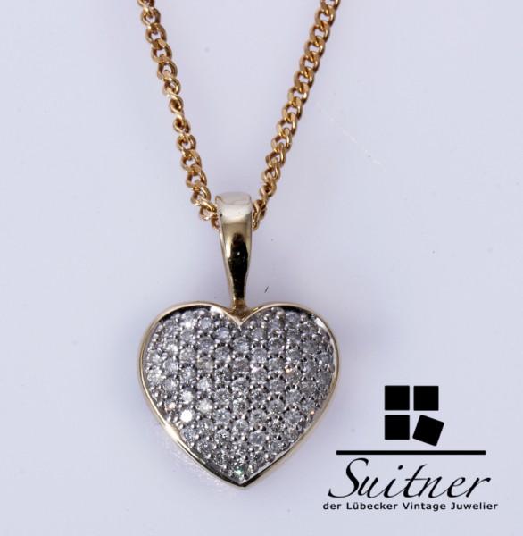 wunderschönes Brillant Herz Kette Collier 585 Gold tolles Geschenk