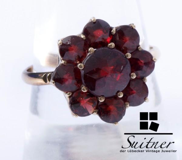 antiker Granat Ring aus Gold Gr. 59 Böhmischer Bohemia Blüten Rot