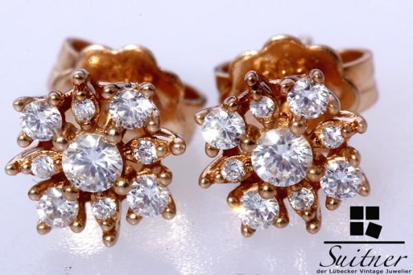 traumhafte klassische Brillant Ohrringe 585 Gold Stecker