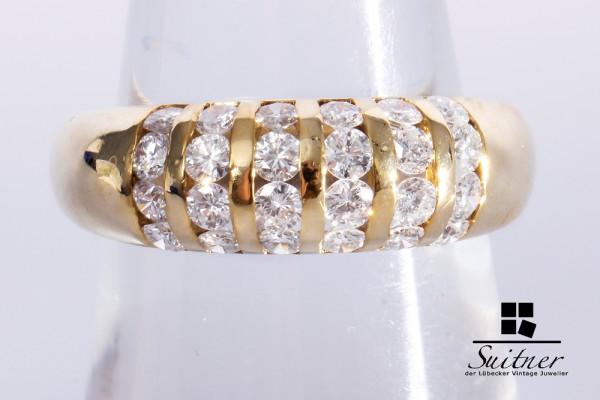 Brillant Ring mit zus. ca. 1,00 ct 585 Gelbgold Gr. 55