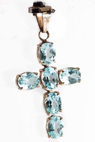 wertvolles Juwelen Kreuz mit Topas Anhänger aus 585 Gold Pendant Cross