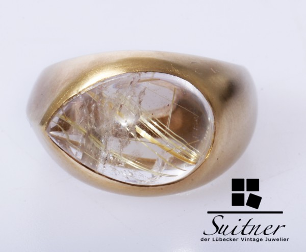 Marc O` Polo Ring aus 585 Gold Tropfenförmiger Rutile Gr. 56 Design Matt