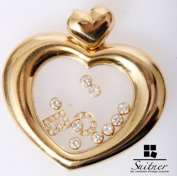 großes Chopard Happy Diamonds Herz 750 Gold 9 Brillanten C B Buchstaben