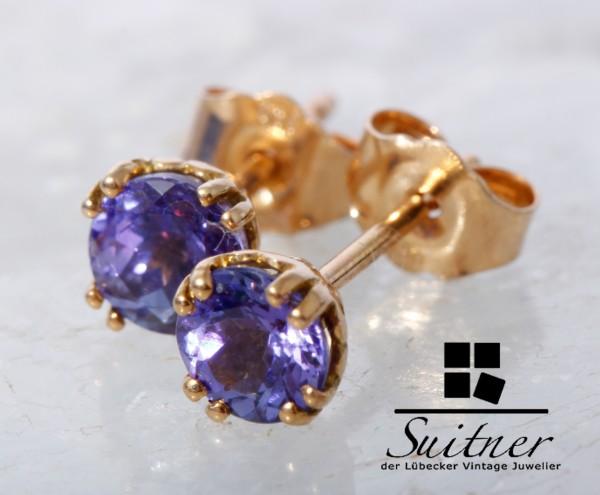 klassische Tansanit Ohrstecker 750 Gold Blau Violett Ohrschmuck