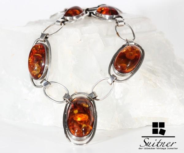 großes Bernstein Silber Collier im Stile des Art Deco Amber XL - Kette