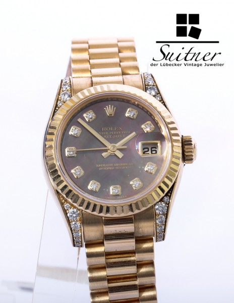 Rolex Lady Date MOP Brillanten Mother of Pearl 179238 Gold Top Zustand selten