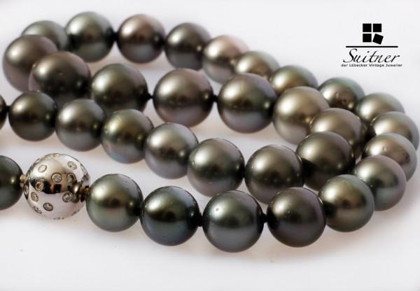Südsee Perlenkette mit Weißgold Brillanten 44.000,- Gutachten Tahiti Collier