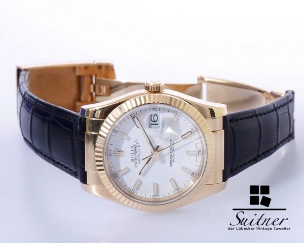 Rolex Datejust Gold Ref 116138 Box Papiere LC100 weißes Blatt FullSet