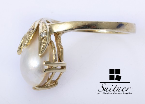 XL Perlen Ring Mabé Perle aus 585 Gold Floral Blüte Diamanten Gr. 58