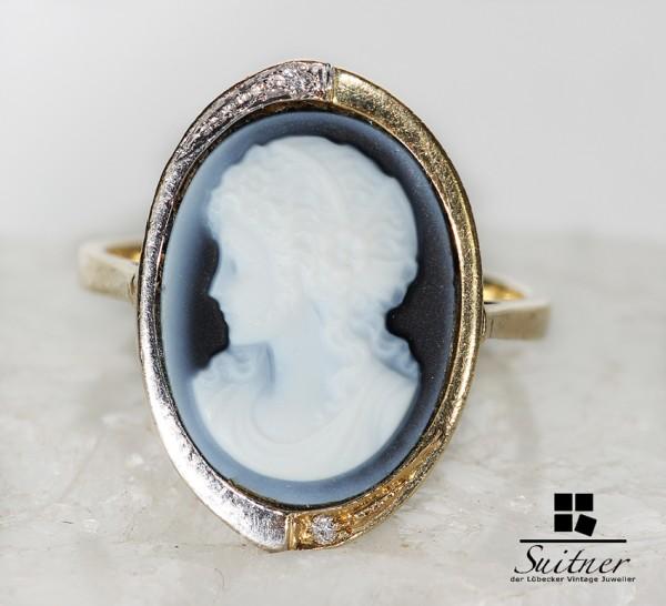 Ring 585 Gold mit einer aus Lagenstein Gemme und Diamanten