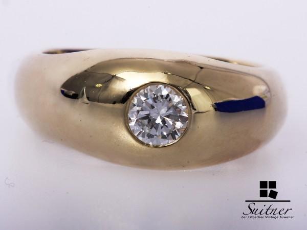 Solitär Brillant Herren Ring 0,70 ct 585 Gelbgold Gr. 64