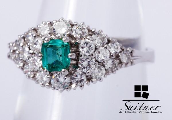 Smaragd Ring Brillanten zus. ca. 0,85 ct 750 Weißgold Gr. 51,5