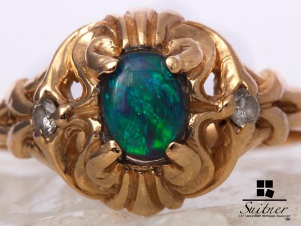 Antiker schwarz Opal Ring 585 Gelbgold Diamanten Gr. 53 Black Gold